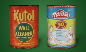 Play-Doh - known as Kutol - originally invented as a wallpaper cleaner